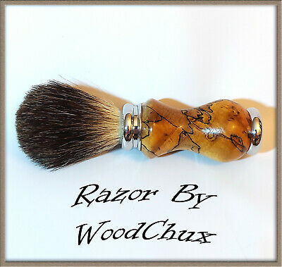Handmade Spalted Maple Wood Silver Badger Hair Shaving Brush Made In USA 292