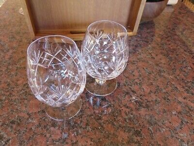 Two Small Vintage Brandy-shaped Glasses (Cut Glass) VGC