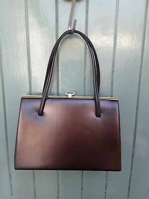 Vintage Vanity Fayre Brown Suede Lined 60s Kelly Hand Bag Handbag Elbrief Frame