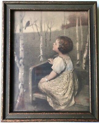 Vintage Antique Picture Of A Girl Looking At A Bird In Original Frame