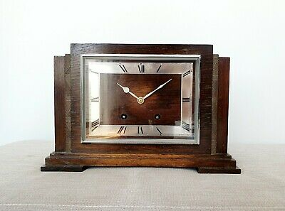Art Deco Mantle Clock - Garrard Vintage Wooden Mantel Clock 8 Day Pendulum