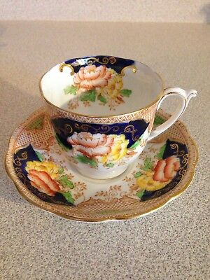 Vintage Bell Fine Bone China Tea Cup And Saucer, Cobalt Blue, Roses & Gold Trim
