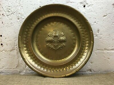Large Vintage Arts & Crafts Brass Scottish Thistle Embossed Wall Charger