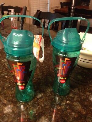 SIX FLAGS 2019 SOUVENIR DRINK CUP TEAL BOTTLE UNLIMITED 99 CENT REFILLS Lot Of 2