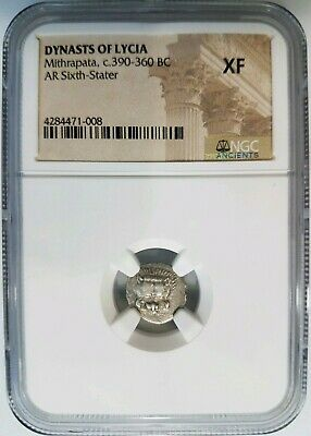 Dynasts of Lycia BC NGC XF Greek Mithrapata Ancient Lion Silver Sixth Stater 1/6