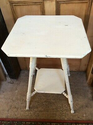 Reclaimed Old Painted Beech Small Two-Tier Table Splayed Legs 65.5cm High