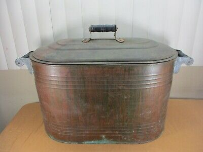 ANTIQUE COPPER BOILER - WASH TUB with LID & WOODEN HANDLES ***LARGE***RUSTIC