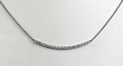 14k Rose, Yellow or White Gold Curved Bar Necklace with Diamond (D 0.08ct )
