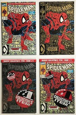 Spider-Man 1 1990 Todd McFarlane Classic Set GOLD Green & Silver Poly Bagged NM