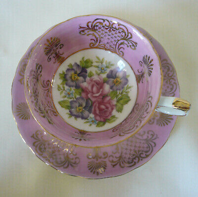 Unmarked Royal Sealy ~ MIXED PINK ROSE FLORAL ~ Pearl luster Teacup tea cup