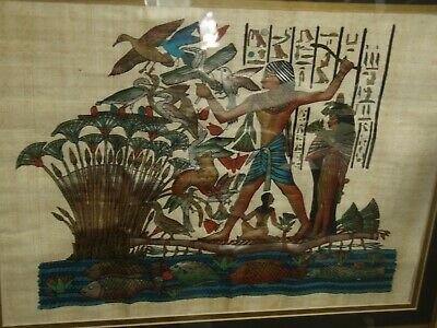 Authentic Hand Painted Ancient Egyptian Papyrus Queen Nefertari Night Boat./719