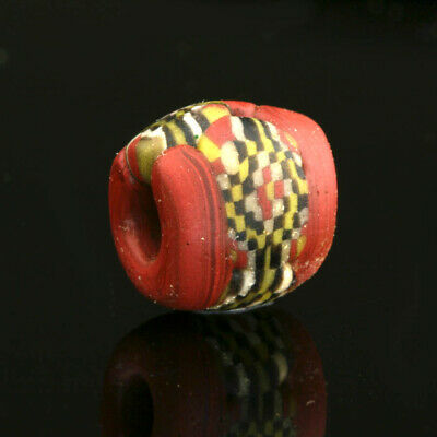 Medieval glass beads: Byzantine /Islamic checkerboard mosaic glass bead,7-9 cent