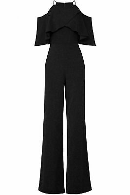 Badgley Mischka Women's Jumpsuit Black Size 10 Cold Shoulder Popover $595- #155