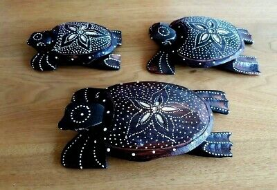 BALINESE GIFT Sea Turtle Family set 3 Hand Carved  Wood Figurines Dot Painting