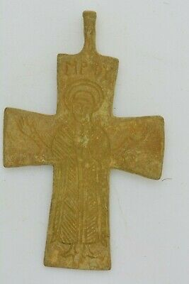 Byzantine bronze cross Virgin Mary inscription MPOY 11th century AD.