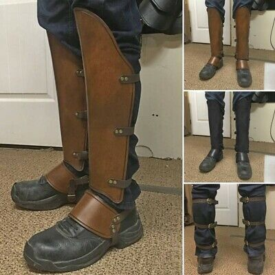 Steampunk Leather Gaiters Viking Removable Covers Medieval Vintage Riding Boots