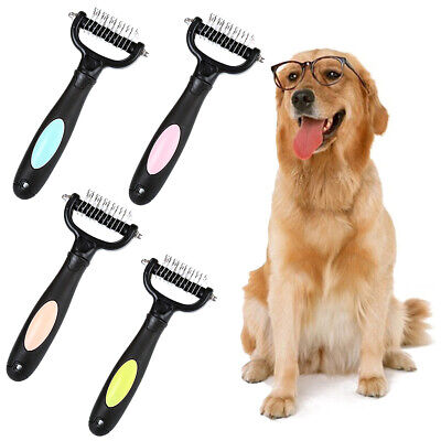 Pet Dog Cat Double-sided Grooming Comb Brush Rake Fur Trimming Hair Remover