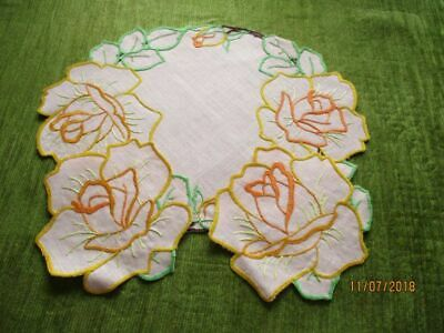 Vintage Tray Cloth - Hand Embroidered Roses+2 Mats - Linen