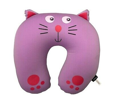 CLEARANCE Purple Cat Micro Bead Travel Neck Rest Pillow Soft Cushion U Shape