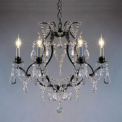 6 Light Black Wrought Iron Crystal Chandelier Living Dining Room Foyer Bedroom