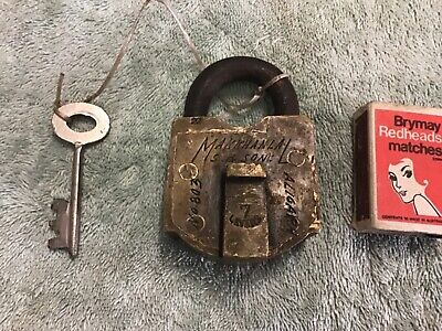 antique  brass padlock, Makkahanla 7 lever working with key, #803
