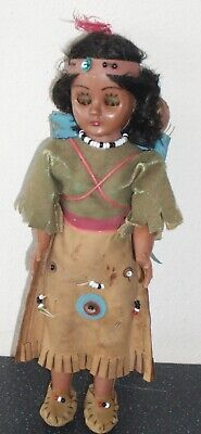"""Vintage 1950's Dressed Native American Indian Standing 7 """" Doll & Two Babies"""