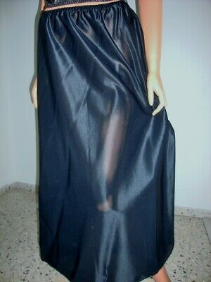 Vintage BLACK Heavy Stiffer Silky Nylon Long Formal Half Slip Petticoat WX