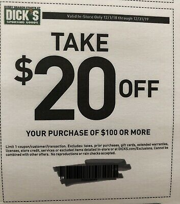 Dicks Sporting Goods $20 Off $100-Emailed Instore only REUSABLE
