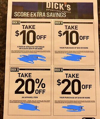 4 Different Dick's Sporting Goods Coupons In-Store Use Mailed Exp: 12/31/19