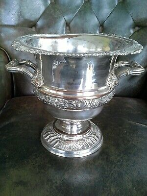Ornate Vintage Silver Plate Wine Cooler 24cm tall/wide plus Double handles 2.8kg