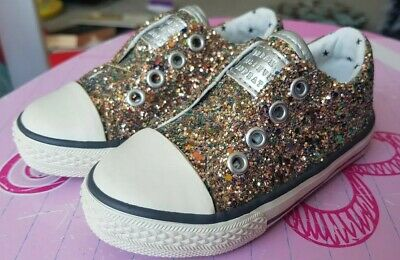 Cute little girls Next Rose Gold sparkly trainers infant size 5 BNWOT RRP 15.00