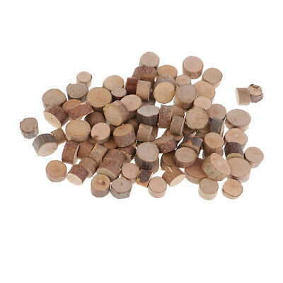100pcs Natural Wood Cut Out Crafts Slice Wooden Logs Ornaments 7-10mm
