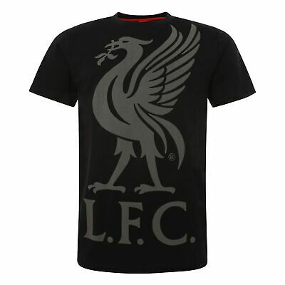 Liverpool FC Black Mens Football Liverbird T-Shirt AW19 LFC Official