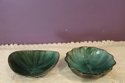 Set Of 2 Vintage Blue Mountain Pottery Bmp Candy Dish Bowls  - Green Glaze