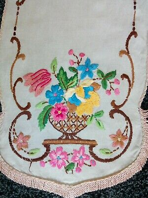 Beautiful Vintage Linen Hand Embroidered Table Runner