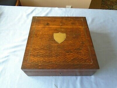 Antique Oak Wood Writing  Box  Stationery Desk Top  Storage  Sewing Box Banding