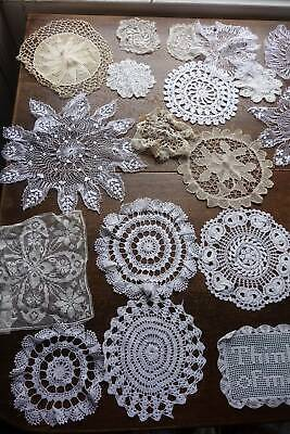 Collection of 20 vintage lace doilies and mats in white or cream