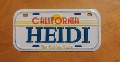 California Golden State Mini Bicycle Bike License Plate With Name HEIDI NOS