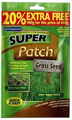 Chatsworth 480g Super Patch Grass Seed Gardening Thicken Lawns for 12 Patches UK