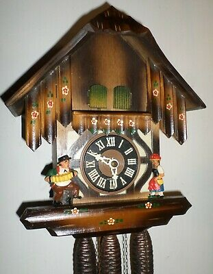 Nice Working German Black Forest Musical Wood Mountain Chalet Cuckoo Clock!