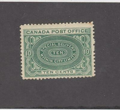 CANADA (MK3989) # E1a  FVF-MLH  10cts 1898 SPECIAL DELIVERY /GREEN CAT VAL $150