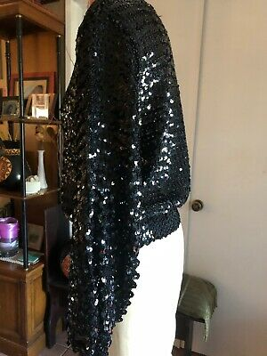 Vintage 70s 80s Toppettes BLACK LONG SKEEVE SEQUIN Knit  Disco SweaterTop