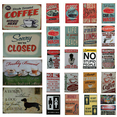 Antique Art Metal Painting Vintage Tin Sign Mural Wall Cafe Bar Pub Garage