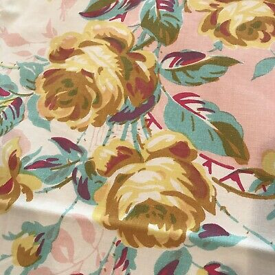 Vintage 50'sTablecloth MINT - white, pink, yellow, mustard, turquoise roses