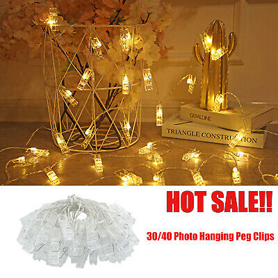 30/40 Photo Window Hanging Peg Clips LED String Lights Home Party Fairy Decor VH
