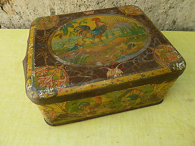 Antique Sketching Metal Tin Case Decor of Country Rooster,for Decoration old