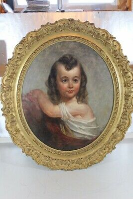 Antique Victorian Oil Canvas Painting of a Child In Rare Gold Gilt Oval Frame