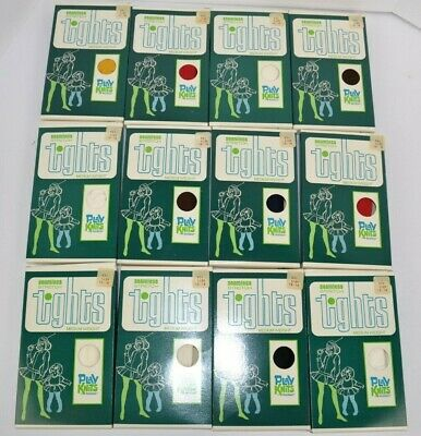 Vtg 1970's Lot of 12 Healthknit Seamless Stretch Tights Assorted Colors L 12-14