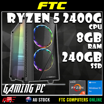 AMD Ryzen 5 2400G 3.9GHz | 8GB RAM | 240GB SSD | Win 10 Pro | Gaming PC Desktop