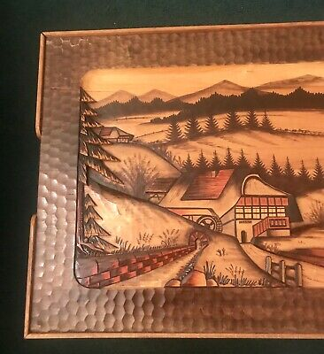 Beautiful Hand Carved 3-D Scene 1940's D.R.G.M. Black Forest Germany Table